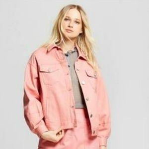 Rose Bloom Pink Denim Long Sleeve Jacket Size L